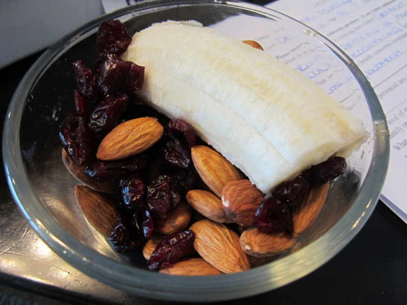 Mid-Day Snack. Banana, almonds, dried crans